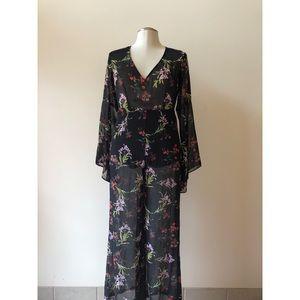 F21 Black Chiffon Floral Jumpsuit